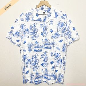 [Topman] Men's White Blue Hawaiian Casual Shirt